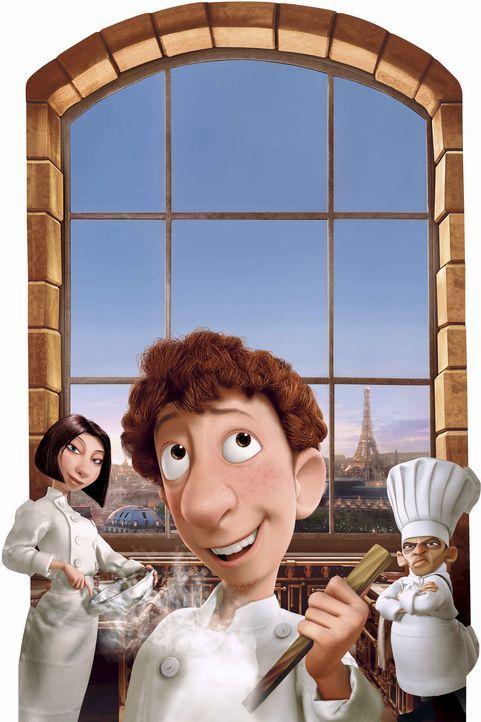 Noch ahnen weder sein Chef, r. oder die Köchin Colette, l., wem Linguini, M. seine plötzlichen Erfolge zu verdanken hat ... - Bildquelle: Disney/Pixar.  All rights reserved