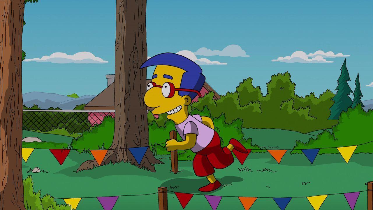 Milhouse gibt alles, um das alljährliche Schulwettrennen rund um das Schulgebäude zu gewinnen. Dieses Mal hat er auch gute Chancen, denn er hat heim... - Bildquelle: 2014 Twentieth Century Fox Film Corporation. All rights reserved.