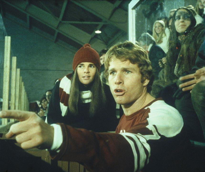 Gemeinsam sehen sich Jennifer Cavalieri (Ali MacGraw, l.) und Oliver Barrett (Ryan O'Neal, r.) ein Eishockeyspiel an ... - Bildquelle: Paramount Pictures