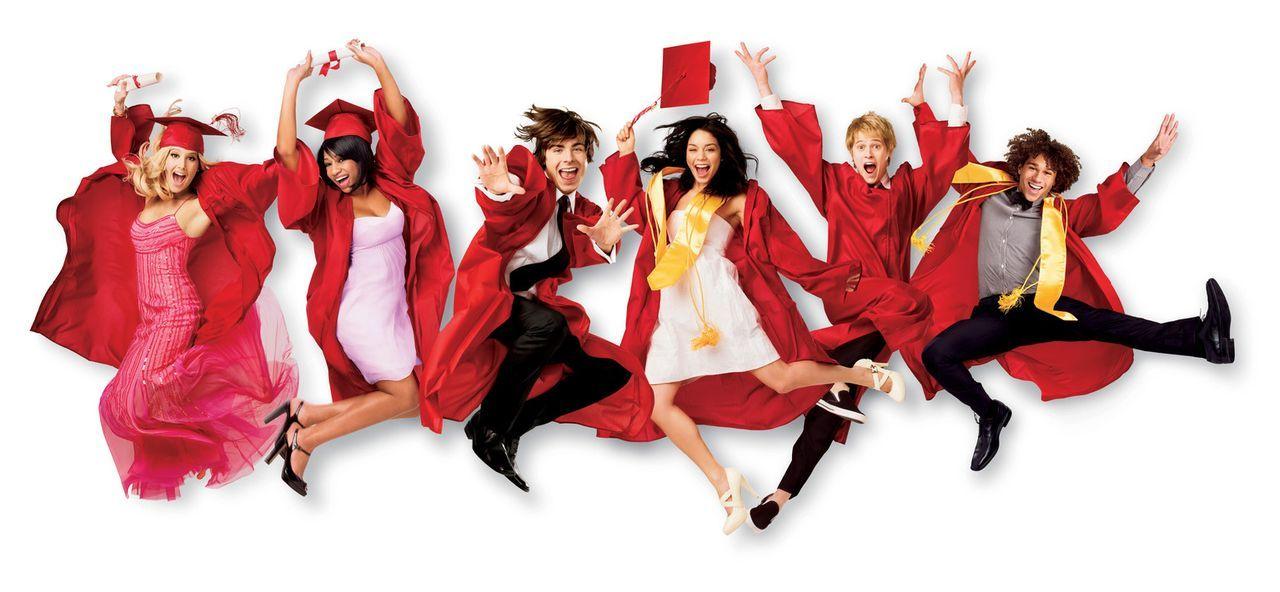 Der Schulabschluß steht bevor! Für die Freunde (v.l.n.r.) Sharpay (Ashley Tisdale), Taylor (Monique Coleman), Troy (Zac Efron), Gabriella (Vanessa... - Bildquelle: Disney Enterprises, Inc.  All rights reserved.
