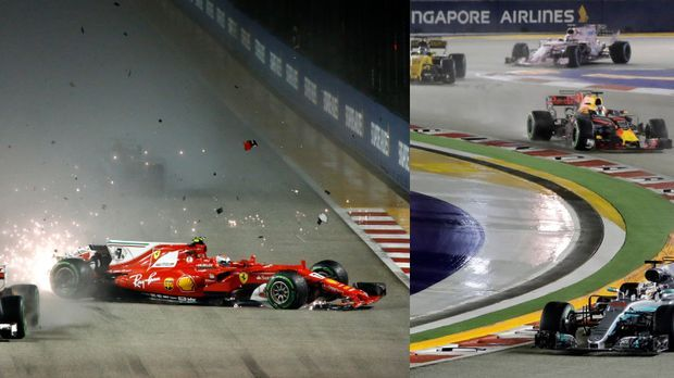 Ferraris kollidieren, Hamilton rast davon
