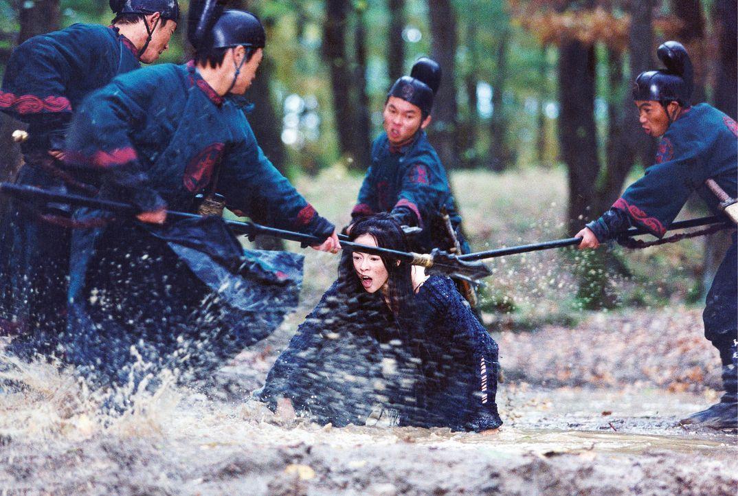 Immer wieder versuchen die kaiserlichen Garden, die blinde Mei (Zhang Ziyi, M.) gefangen zu nehmen. Doch diese hat überall in die Wälder geheimnis... - Bildquelle: Constantin Film