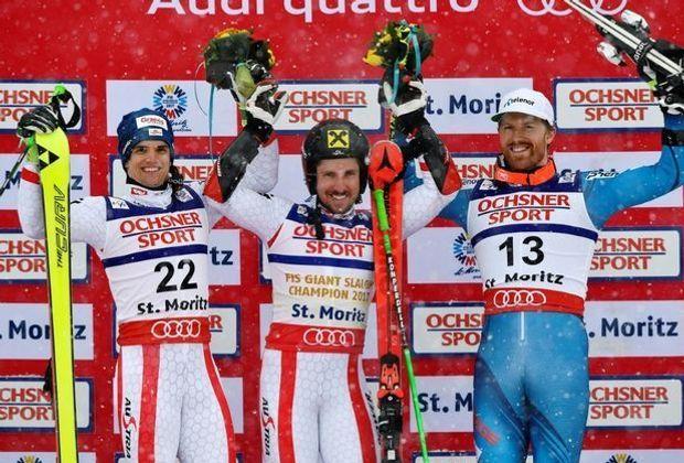 Marcel Hirscher (m.) ist der strahlende Sieger des Tages