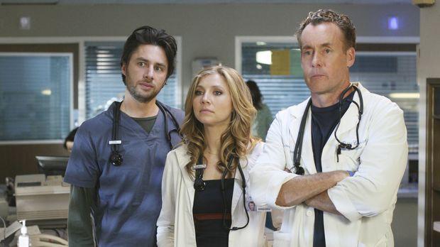 J.D. (Zach Braff, l.), Elliot (Sarah Chalke, M.) und Dr. Cox (John C. McGingl...
