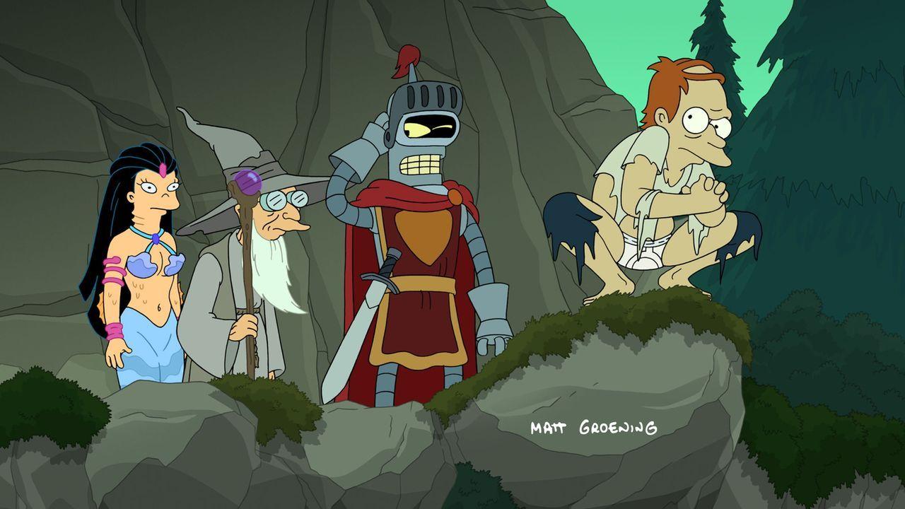 Die Reise im Fantasieland macht Amy (l.), Professor Hubert (2.v.r.), Bender (2.v.l.) und vor allem Fry (r.) gewaltig zu schaffen ... - Bildquelle: 2008 Twentieth Century Fox Film Corporation. All rights reserved.