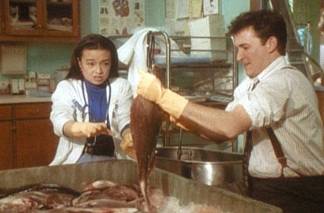 Deb (Ming-Na Wen, l.) und Carter (Noah Wyle, r.) suchen in ihrer Fischwanne nach dem abgetrennten Finger eines Patienten. - Bildquelle: TM+  WARNER BROS.