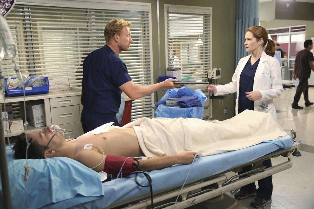 April (Sarah Drew, r.) ist der Meinung, dass Owen (Kevin McKidd, l.) nach Cristinas Kündigung dringend einen guten Freund braucht. Sie lässt sich vo... - Bildquelle: ABC Studios