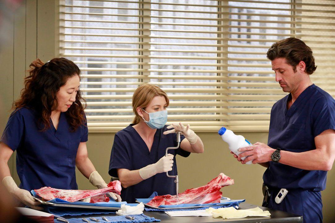 Christina (Sandra Oh, l.), Meredith (Ellen Pompeo, M.) und Derek (Patrick Dempsey, r.) arbeiten mit verschiedensten Instrumenten, um zu erproben, wi... - Bildquelle: ABC Studios
