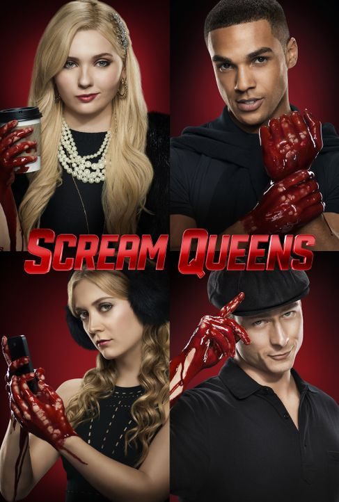 (1. Staffel) - Scream Queens - Artwork - im Uhrzeigersinn: Chanel #5 (Abigail Breslin), Earl (Lucien Laviscount), Chad (Glen Powell) und Chanel #3 (... - Bildquelle: 2015 Fox and its related entities.  All rights reserved.