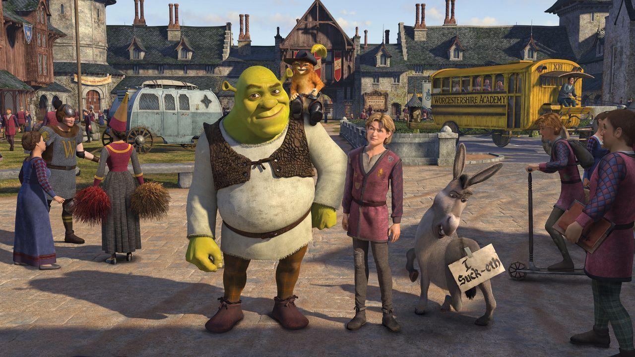 Als Shrek (M. l.) mit dem gesuchten Arthur (M. r.) heimkehrt, wartet auf ihn eine Neuigkeit, die ihn in einen tiefen Schock versetzt: Fiona hat in d... - Bildquelle: TM &   2007 Dreamworks Animation LLC