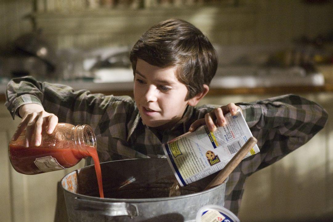Dass sich Tomatensauce als hervorragende Waffe gegen Kobolde eignet, weiß Jared (Freddie Highmore) aus dem geheimnisvollen Buch seines Ur-Ur-Onkels... - Bildquelle: Paramount Pictures