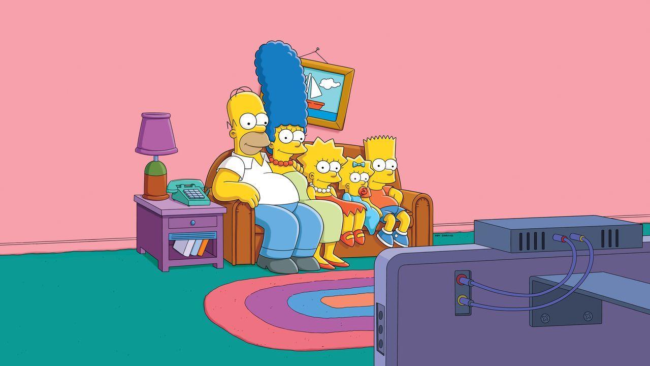 (27. Staffel) - Eine Familie mit ganz besonderem Pfiff: Maggie (2.v.r.), Marge (2.v.l.), Homer (l.), Bart (r.) und Lisa Simpson (M.) ... - Bildquelle: 2015 Fox and its related entities.  All rights reserved.