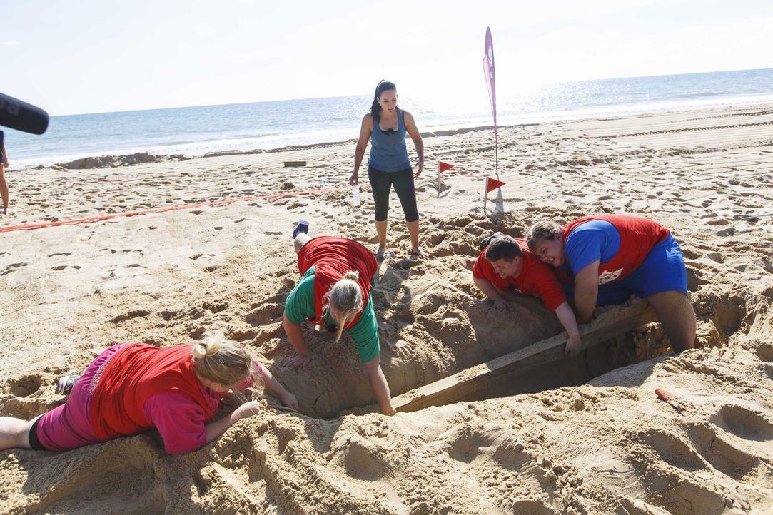 Silkes (Stehend) Team muss alles geben, um die tief verbuddelten Balken aus dem Sand zu holen ... - Bildquelle: SAT.1