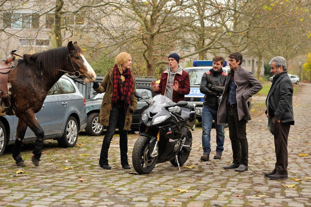 Als Josephine Klick (Diana Amft, l.) zum Dienstantritt mit dem Pferd ankommt, sind ihre neuen Kollegen Fritz Munro (Matthi Faust, M.), Alexander Mah... - Bildquelle: Hardy Spitz SAT.1