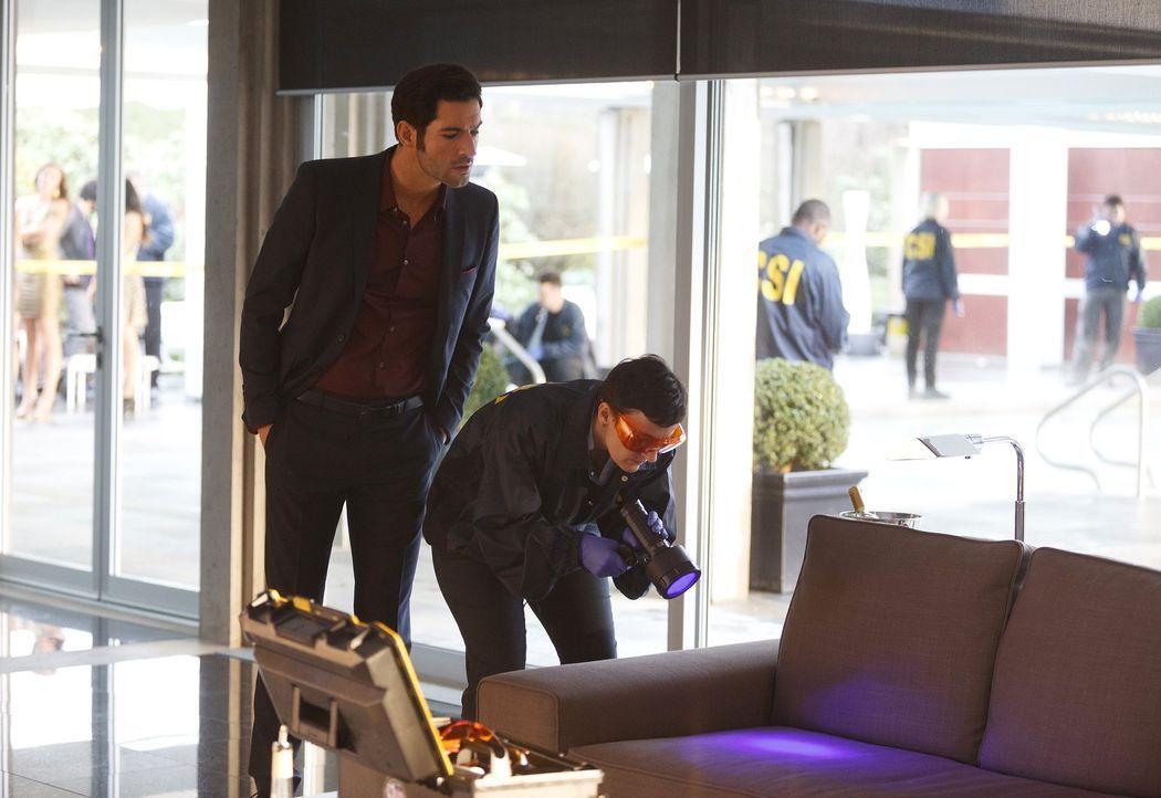 Ein neuer Fall macht Lucifer (Tom Ellis, l.) schließlich klar, dass er eben nicht nur Freude am Bestrafen der Bösen hat ... - Bildquelle: 2016 Warner Brothers