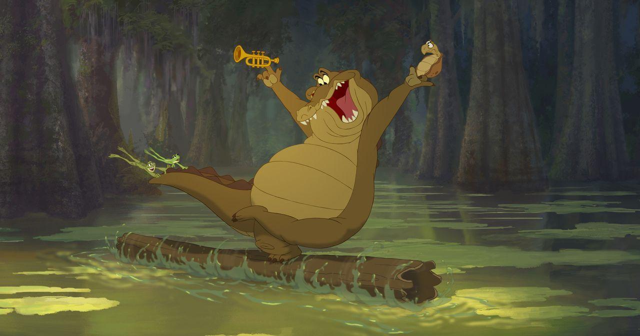 Auf ihrer Reise lernen Tania (2.v.l.) und Naveen (l.) den Alligator Louis (2.v.r.) kennen. Louis, der eine Leidenschaft für die Musik hat, begibt si... - Bildquelle: Walt Disney Pictures.  All Rights Reserved.