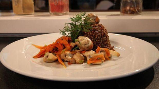 Russische Hauptspeise: Kascha mit Pilzen