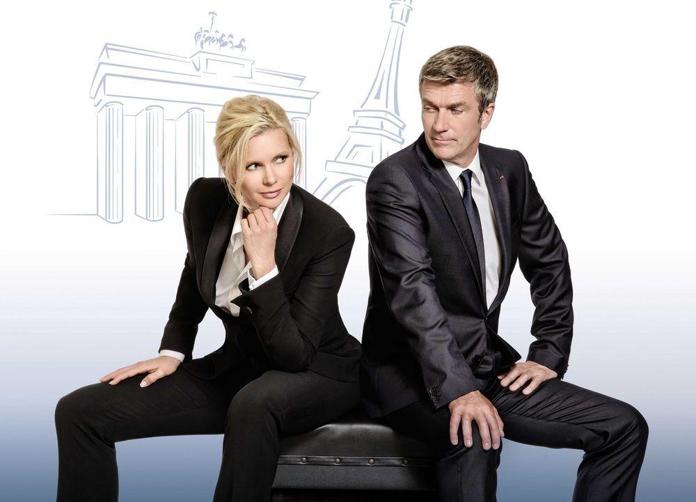 Die Staatsaffäre - Veronica Ferres, l. als Bundeskanzlerin Anna Bremer und Philippe Caroit, r. als der französische Präsident Guy Dupont - Bildquelle: Stefan Erhard SAT.1