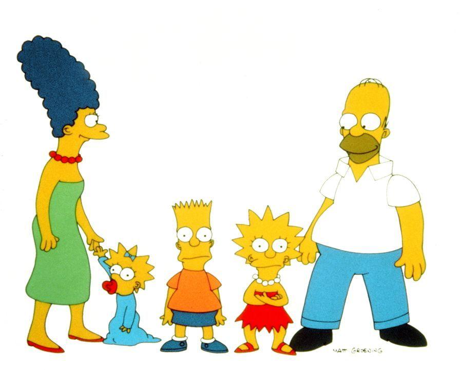 (1. Staffel) - Die Simpsons sind eine nicht alltägliche Familie: (v.l.n.r.) Marge, Maggie, Bart, Lisa und Homer. - Bildquelle: und TM Twentieth Century Fox Film Corporation - Alle Rechte vorbehalten