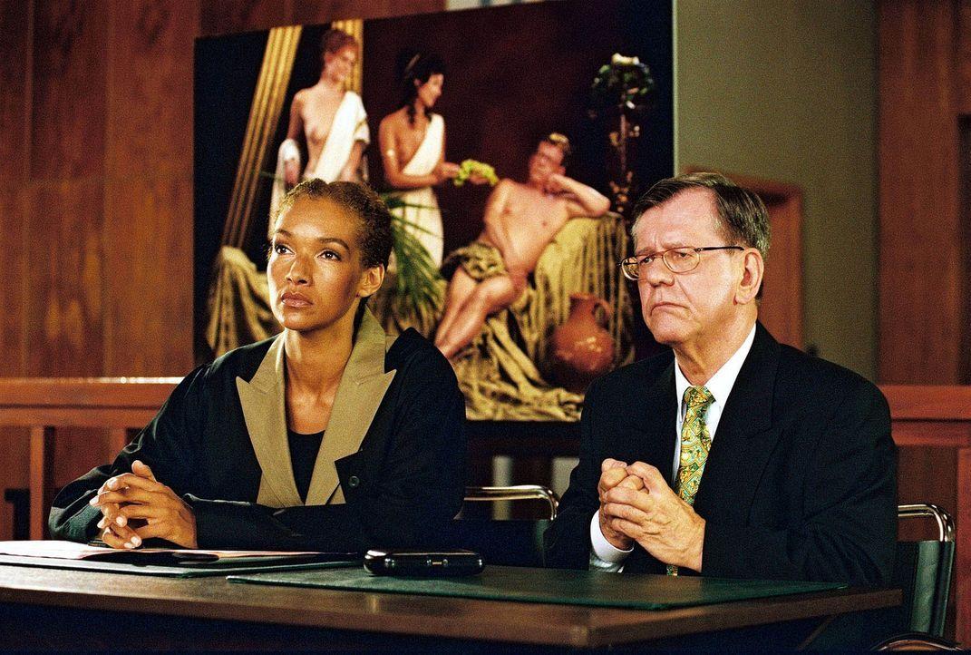 Finanzsenator Safin (Herbert Feuerstein, r.) und seine Anwältin Dr. Schnüll (Carol Campbell, l.) treten mit Entschiedenheit gegen eine öffentlich... - Bildquelle: Sat.1