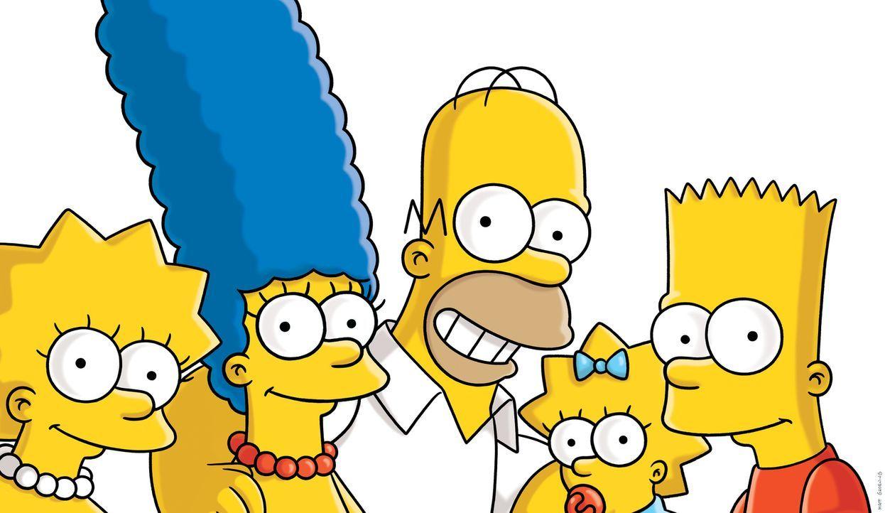 (27. Staffel) - Die Simpsons sind eine nicht alltägliche Familie: Maggie (2.v.r.), Marge (2.v.l.), Lisa (l.), Homer (M.) und Bart (r.) ... - Bildquelle: 2015 Fox and its related entities.  All rights reserved.