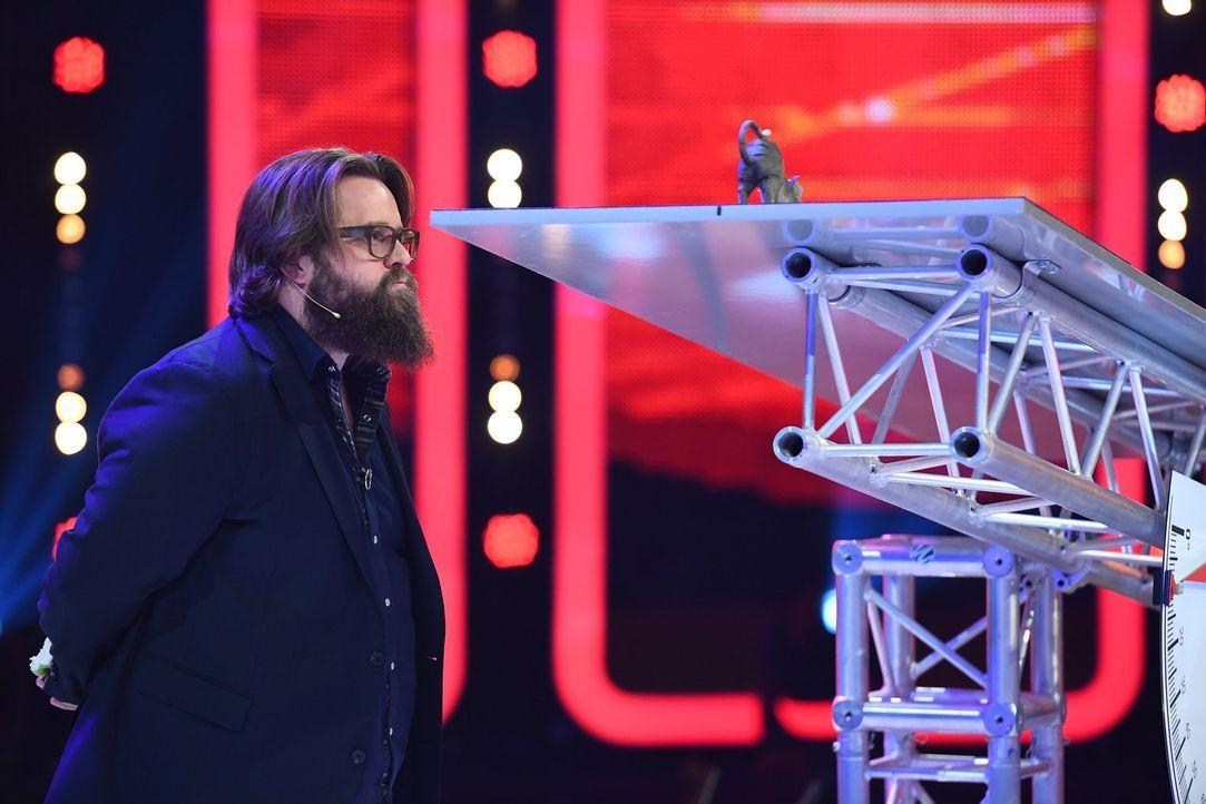 """Gar nicht so einfach: Antoine Monot muss beim """"Duell der Stars"""" sein Geschick unter Beweis stellen ... - Bildquelle: Willi Weber SAT.1"""