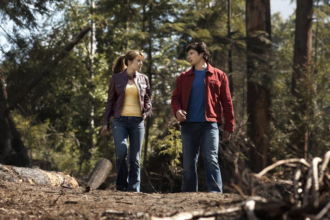 Clark (Tom Welling, r.) muss Lois (Erica Durance, l.) erst davon überzeugen, dass Kara sie nicht verletzten wollte. Seine Cousine muss sich erst an... - Bildquelle: Warner Bros.