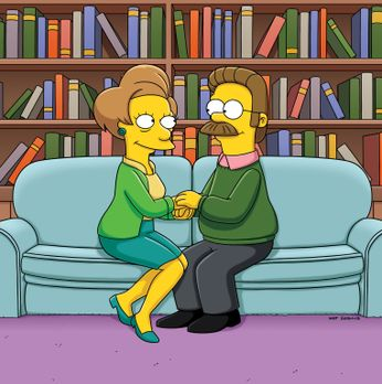 Die Simpsons - Kommen sich näher: Ned Flanders (r.) und Edna Krabappel (l.) ....