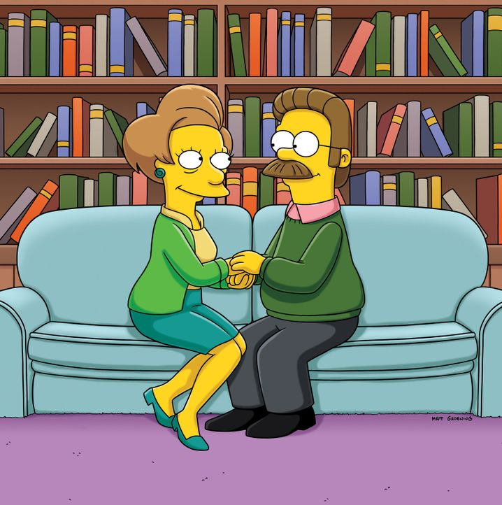 Kommen sich näher: Ned Flanders (r.) und Edna Krabappel (l.) ... - Bildquelle: und TM Twentieth Century Fox Film Corporation - Alle Rechte vorbehalten