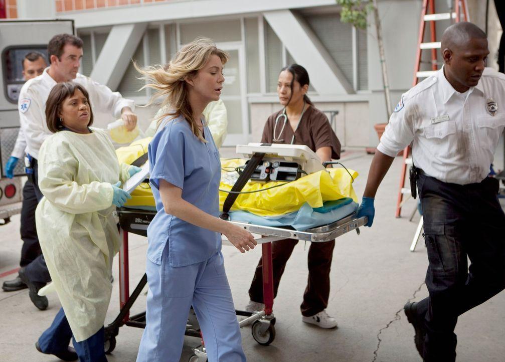 In Seattle tut sich plötzlich ein Erdloch auf, in dem mehrere Menschen verschwinden. Bailey (Chandra Wilson, 3.v.l.) und Meredith (Ellen Pompeo, 3.v... - Bildquelle: ABC Studios