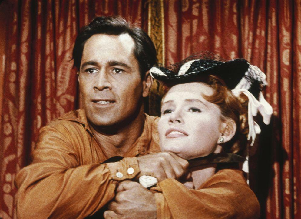 Was hat Adam (Pernell Roberts, l.) mit der hübschen Jennifer (Jackie Russell, r.) vor? - Bildquelle: Paramount Pictures