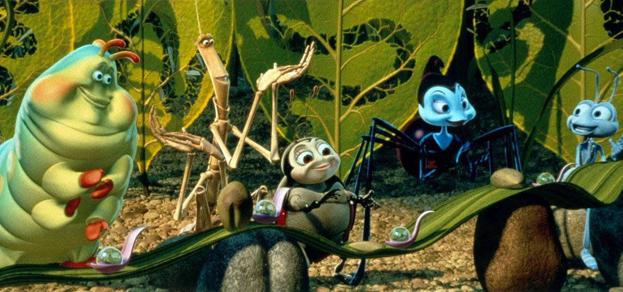 """(v.l.n.r.) Gustl, Slim, Franzi und Rosie sind von Fliks """"Erfindung"""" begeistert! - Bildquelle: Disney/Pixar"""
