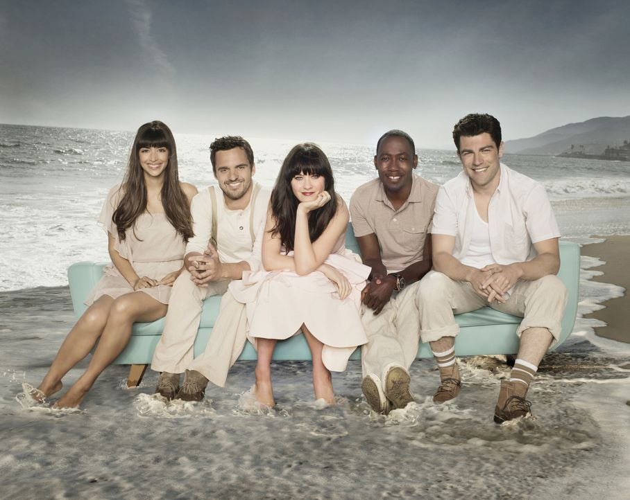 (2. Staffel) - Cece (Hannah Simone, l.), Nick Miller (Jake Johnson, 2.v.l.), Winston Bishop (Lamorne Morris, 2.v.r.) und Schmidt (Max Greenfield, r.... - Bildquelle: 2012-2013 Twentieth Century Fox Film Corporation. All rights reserved.