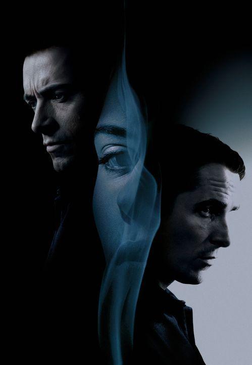Prestige - Die Meister der Magie: Robert Angier (Hugh Jackman, l.), Alfred Borden (Christian Bale, r.) und Olivia Wenscombe (Scarlett Johansson, M.)... - Bildquelle: Warner Television