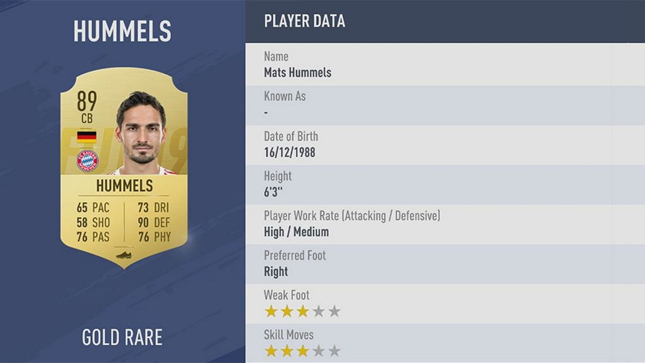 Mats Hummels - Rating: 89 - Bildquelle: EA Sports