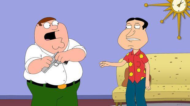 Während Brians Sohn Dylan in der Stadt auftaucht, geraten Peter (l.) und Quag...