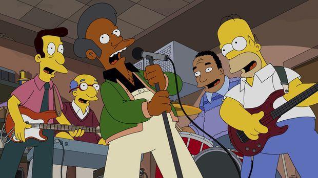 Gründen überraschend eine erfolgreiche Band: (v.l.n.r.) Lovejoy, Kirk, Apu, D...