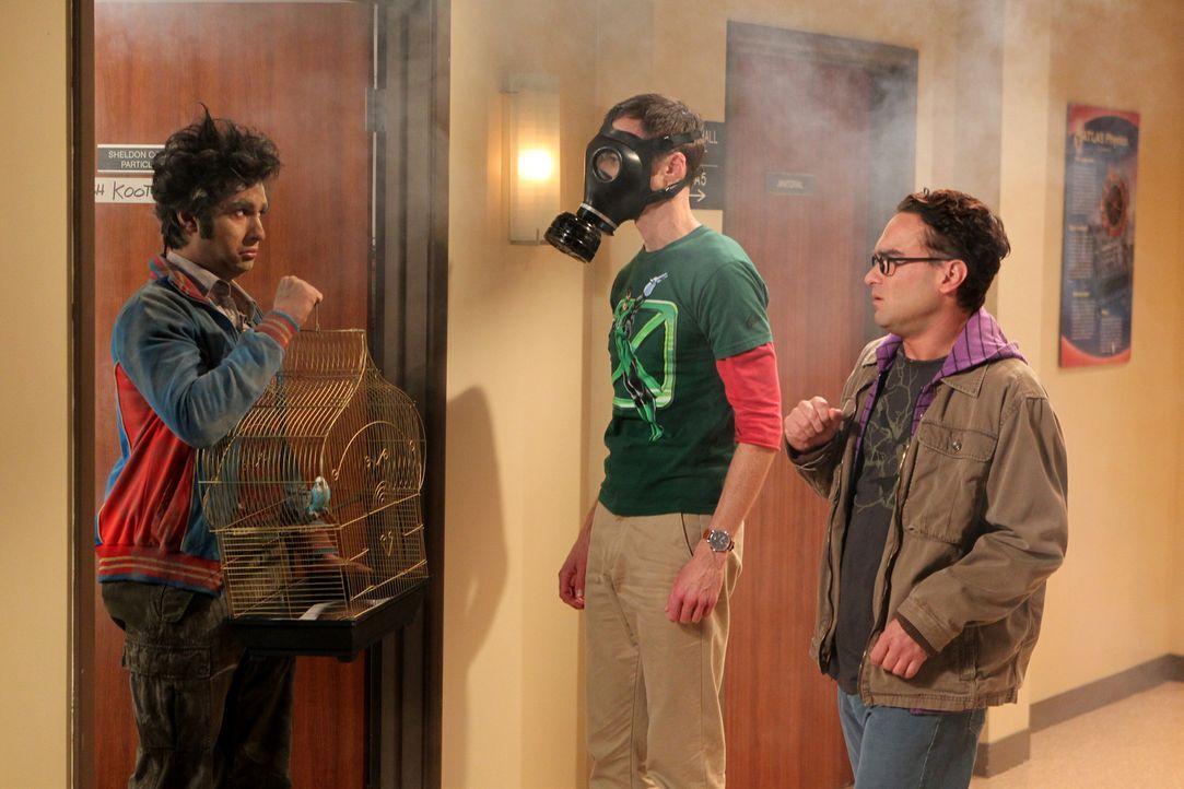 Ihre Freundschaft verläuft nicht immer harmonisch: Leonard (Johnny Galecki, r.), Sheldon (Jim Parsons, M.) und Rajesh (Kunal Nayyar, l.) ... - Bildquelle: Warner Bros. Television