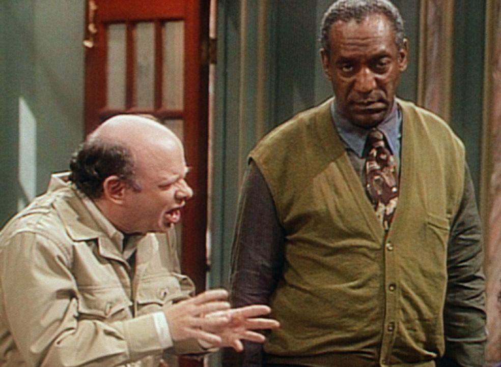 Cliff (Bill Cosby, r.) ist nicht gerade begeistert, dass er nun ausgerechnet mit Jeffrey Engels (Wallace Shawn, l.) Olivias Klasse ins Museum beglei... - Bildquelle: Viacom