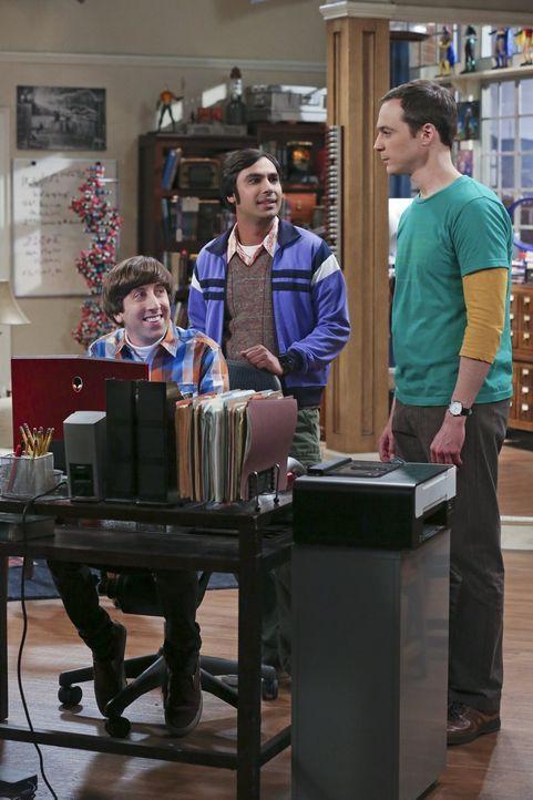 Während Amy ein Date hat, schalten Sheldon (Jim Parsons, r.), Raj (Kunal Nayyar, M.) und Howard (Simon Helberg, l.) eine Online-Annonce, um eine neu... - Bildquelle: 2015 Warner Brothers