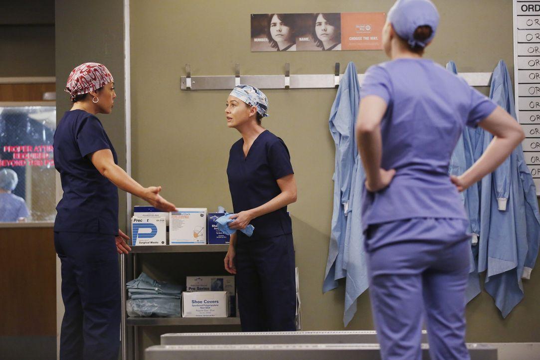 Während Maggie versucht, einer Patientin das Leben zu retten, geraten Meredith (Ellen Pompeo, M.), Callie (Sara Ramirez, l.) und Penny (Samantha Slo... - Bildquelle: Vivian Zink ABC Studios