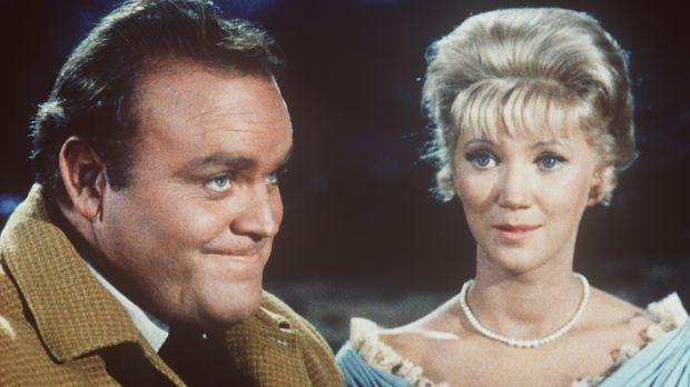 Hoss Cartwright (Dan Blocker, l.) möchte Margie Owens (Kathie Browne, r.) hei...