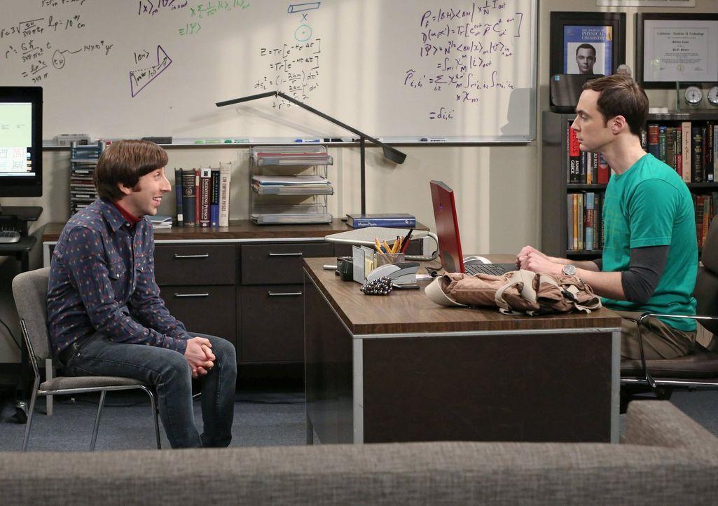 Nachdem Howard (Simon Helberg, l.) und Sheldon (Jim Parsons, r.) sich beginnen zu beleidigen, versucht Bernadette den Streit zwischen den beiden zu... - Bildquelle: Warner Brothers