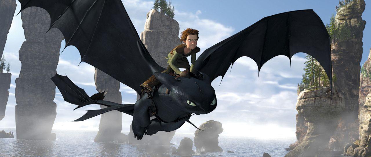 Der Nachtschatten Ohnezahn und der Wikingerjunge Hicks verbünden sich um gemeinsam den Kampf gegen eine gefährliche Bestie zu gewinnen. - Bildquelle: 2012 by DreamWorks Animation LLC. All rights reserved.