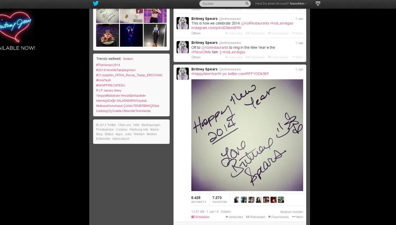 Neujahr2014-Britney-Spears-twitter-com-Britney-Spears - Bildquelle: twitter.com / Britney