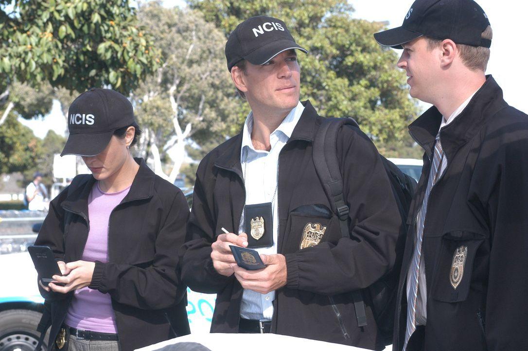 Stehen vor einem schwierigen Fall: Kate (Sasha Alexander, l.), Tony (Michael Weatherly, M.) und McGee (Sean Murray, r.) ... - Bildquelle: CBS Television