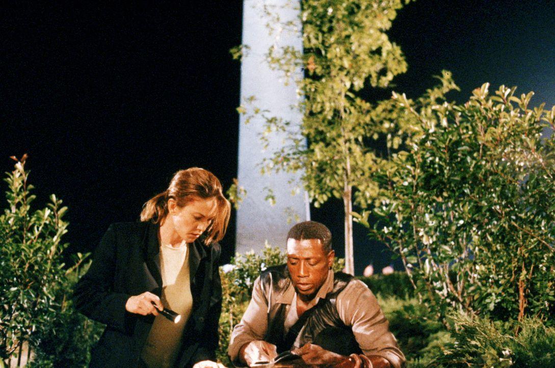 Die Geheimagentin Nina Chance (Diane Lane, l.) und Detective Harlan Regis (Wesley Snipes, r.) stoßen auf viele Ungereimtheiten. Mehr als einigen hoc... - Bildquelle: Warner Bros.