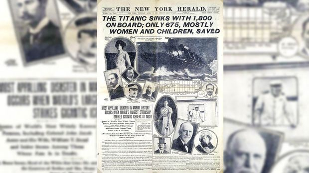 "Die Titelseite des ""New York Herald"" am 15. April1912."