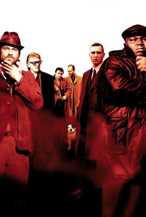Snatch - Schweine und Diamanten: (v.l.n.r.) Mickey (Brad Pitt), Brick Top (Alan Ford), Tommy (Stephen Graham), Turkish (Jason Statham), Bullet Tooth... - Bildquelle: 2003 Sony Pictures Television International. All Rights Reserved.
