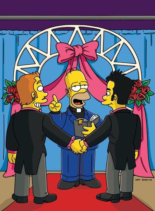 Homer (M.) beschließt Priester zu werden, um gleichgeschlechtliche Eheschließungen durchzuführen ... - Bildquelle: und TM Twentieth Century Fox Film Corporation - Alle Rechte vorbehalten